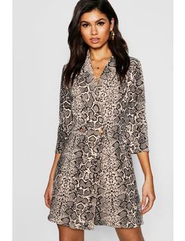 Button Detail Snake Print Blazer Dress by Boohoo