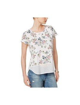 Maison Jules Womens Mixed Media Embellished T Shirt by Maison Jules