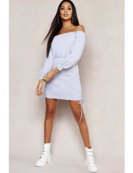Off Shoulder Ruched Side Sweatshirt Dress by Boohoo