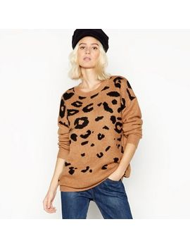 Red Herring   Brown Leopard Print Knitted Jumper by Red Herring