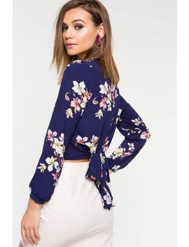 Floral Tie Back Surplice Top by A'gaci