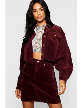 Tall Mock Horn Button Crop Cord Jacket by Boohoo
