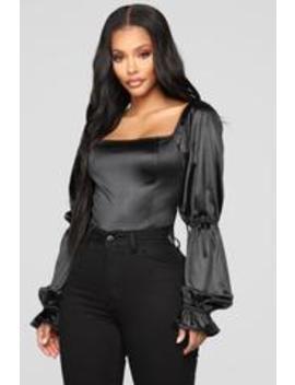 I Like Me Better Long Sleeve Top   Black by Fashion Nova