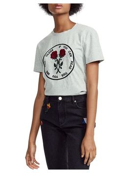 Tomboucto If You Can Read This You Are Too Close Embroidered Graphic Tee by Maje