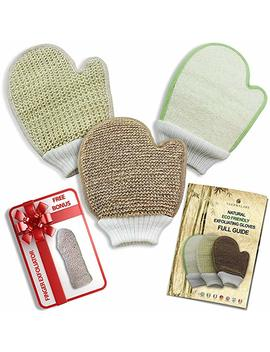 Natural Eco Friendly Body Scrub Exfoliator Gloves: Bamboo Fiber And Loofah, Jute And Sisal Mitts by Amazon