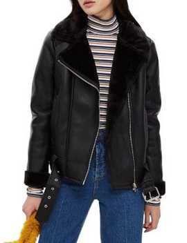 Petites Corin Faux Fur Bonded Biker Jacket by Topshop