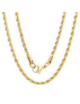 Steeltime  Men's Gold Tone Rope Chain Necklace by Steeltime