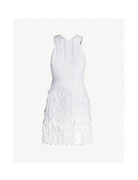 Flora Crepe Feather Embellished Dress by Reiss