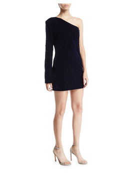 Edie Velvet One Shoulder Embellished Dress by Rt A