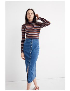 Stretch Denim Side Button Midi Skirt by Madewell