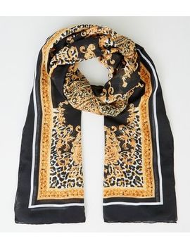 Black Baroque Print Longline Scarf by New Look