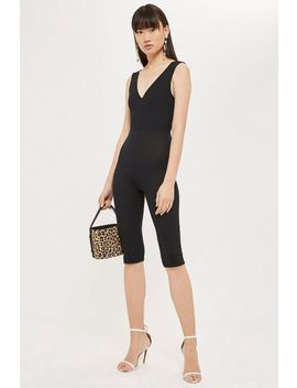 Black Plunge Unitard by Topshop