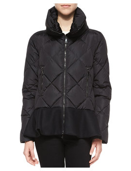 Vouglette Flounce Hem Puffer Coat, Black by Neiman Marcus