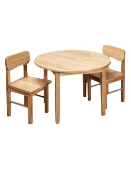 Round Table &Amp; Two Chair Set Nat by Gift Mark