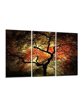 Yin Art 3 Panel Split Canvas Print Wall Art Set   Large Japanese Maple Tree Landscape In Autumn Triptych   12x24 Inch by Yin Art