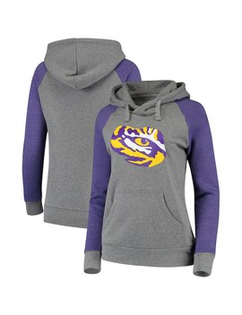 Lsu Tigers Fanatics Branded Women's Primary Logo Raglan Sleeve Hoodie   Heathered Gray/Purple by Fanatics Branded