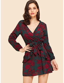 Surplice Front Floral Print Dress by Sheinside