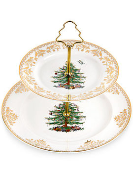 Christmas Tree Gold 2 Tier Cake Stand by Spode