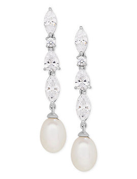 Cultured Freshwater Pearl (9 X 7mm) & Swarovski Zirconia Drop Earrings In Sterling Silver, Created For Macy's by Arabella