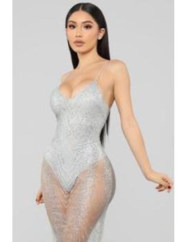 My New Love Glitter Midi Dress   Silver by Fashion Nova