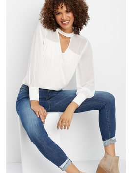 Flying Monkey™ Mid Rise Cuffed Skinny Jean by Maurices