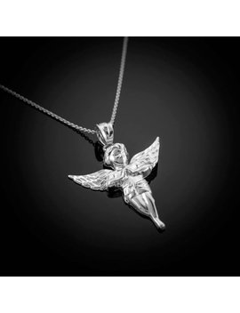Polished Sterling Silver Angel Pendant Necklace by Etsy