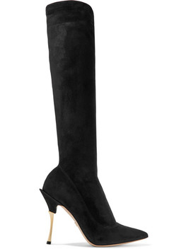Cardinale Stretch Suede Knee Boots by Dolce & Gabbana
