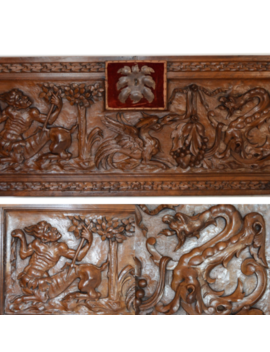 Rare French Antique Gothic Carved Wood Pediment Panel Griffin Dragon Centaur by Ebay Seller