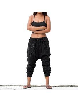 Harem Pants Black Women Men Drop Crotch Pants Goa Pants Gypsy Pants Baggy Pants Festival Pants by Etsy