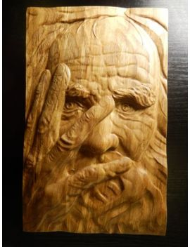 Wood Carved Picture Wall Decoration Plaque. Old Man Face. Perfect  Gift by Ebay Seller