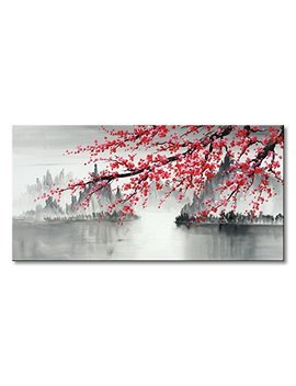Traditional Chinese Painting Hand Painted Plum Blossom Canvas Wall Art Modern Black And White Landscape Oil Painting For Living Room Bedroom Office Decoration (48x24 Inch) by Seekland Art