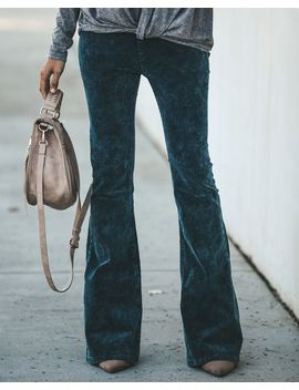 Dazed + Confused Acid Wash Corduroy Bell Bottoms   Teal by Vici