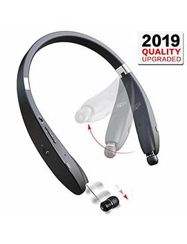 Bluetooth Headphones Wireless Neckband Headset   Sweatproof Foldable Earphones With Mic, Retractable Earbud And 16 Hours Play Time For I Phone Android Cellphone Tablets Tv by Dylan
