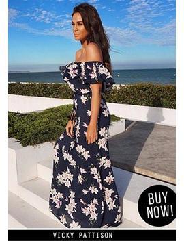 Navy Floral Bardot Printed Maxi Dress by Ax Paris