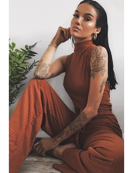 Rust Ribbed High Neck Wide Leg Belted Jumpsuit   Rayden by Rebellious Fashion