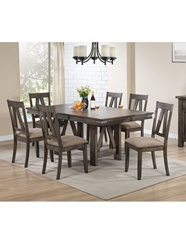 Kings Brand Furniture   7 Piece Lynn Brown Wood Rectangle Dining Room Table & 6 Chairs by Kings Brand Furniture