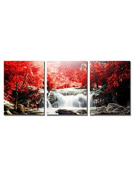 Mode Art Waterfall Wall Art Artwork Oil Painting For Living Room Modern Deer Playing Under The Red Woods Canvas Printed Paintings For Home Wall Decorations … by Modeart