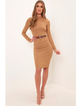 Camel Turtleneck Long Sleeve Ribbed Midi Dress by I Saw It First