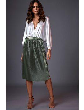 Green Metallic Plisse Pleated Midi Skirt by I Saw It First