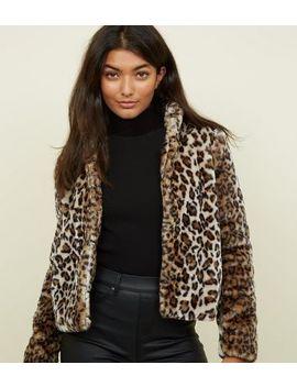 Jdy Brown Leopard Print Faux Fur Coat by New Look