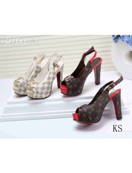Women's Sandals Leather Heels Summer High Heeled Shoes by I Offer