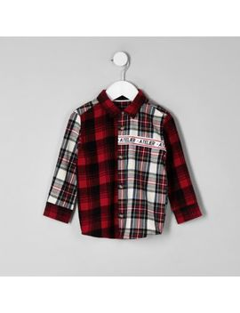Mini Boys Red 'Atelier' Check Shirt by River Island