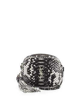 Monogram Blogger Python Embossed Crossbody Bag, Black/White by Neiman Marcus