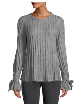 Ribbed Lace Cuff Long Sleeve Sweater by Neiman Marcus