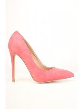 Pink Slip On Faux Suede Pumps by Ami Clubwear