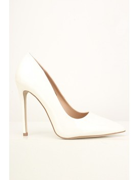 White Slip On Patent Pumps by Ami Clubwear