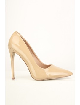Nude Slip On Patent Pumps by Ami Clubwear