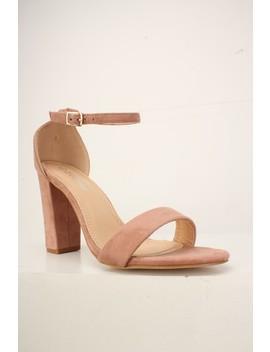 Sexy Dusty Pink Open Toe Single Sole Chunky Heels Faux Suede by Ami Clubwear