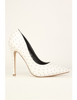 Sexy White Studded Single Sole High Heels Pumps Faux Leather by Ami Clubwear