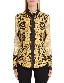 Hibiscus Print Silk Shirt by Versace First Line